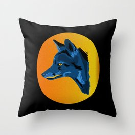 Blue Camouflage Fox - Abstract Animal Throw Pillow