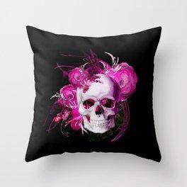 Pink fantasy flower skull black mjvision Mia Niemi Throw Pillow
