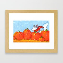 Wolf in the Pumpkin Patch Framed Art Print