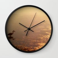 crane Wall Clocks featuring Crane by Jennifer L. Craft