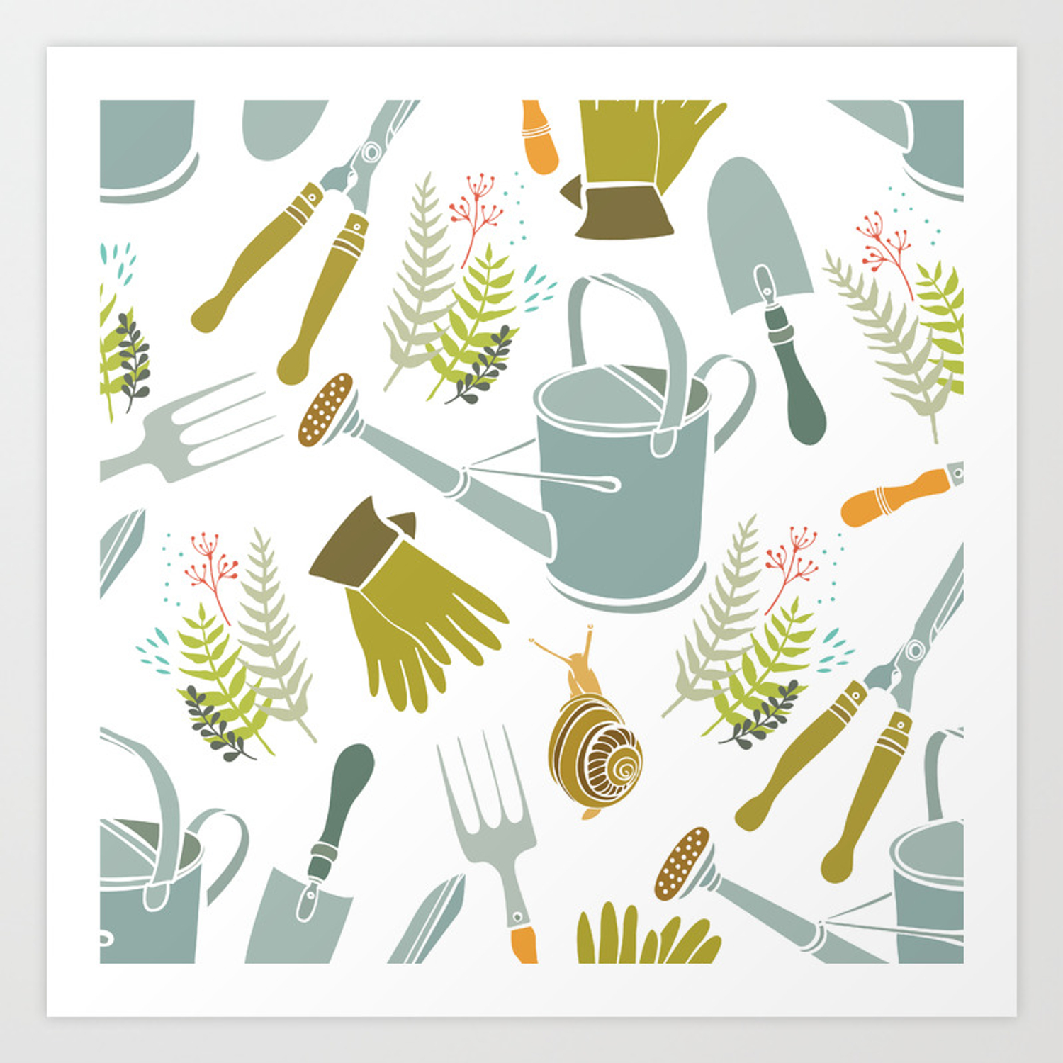 Spring Background Gardening Tools And Snails Art Print By Igorg