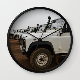 Classic Landrover Defender 3 | classic cars photography | white oldtimers Wall Clock