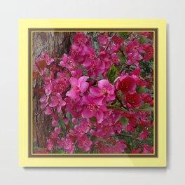 FUCHSIA PURPLE CRAB APPLE FLOWERS  FLORAL ART Metal Print