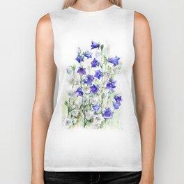 Bluebells watercolor flowers, aquarelle bellflowers Biker Tank