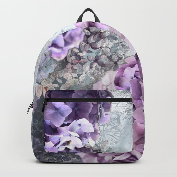 Vintage Flower Hydrangea Hortensia Collage Backpack