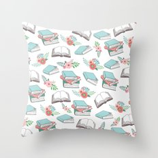 Books & Flowers Print Throw Pillow