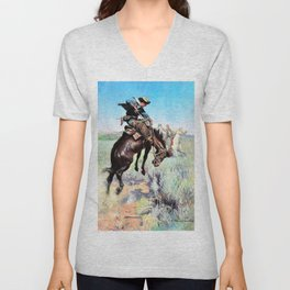 Busting a Broncho - William Herbert Dunton Unisex V-Neck