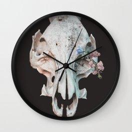 Skull + Flowers Wall Clock