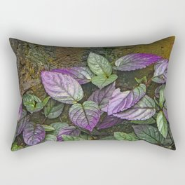 Purple and Green Leaves on Multi-Colored Bark Rectangular Pillow