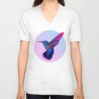 hummingbird V-neck T-shirts featuring Hummingbird by jenkydesign