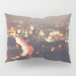 Los Angeles cityscape at night. Abstract Mulholland Pillow Sham