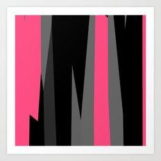 pink black and gray abstract Art Print