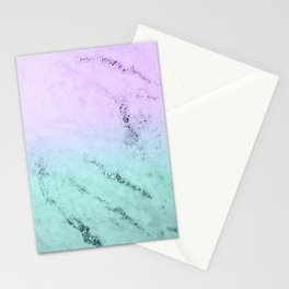 Unicorn Mermaid Girls Glitter Marble #1 #decor #art #society6 Stationery Cards