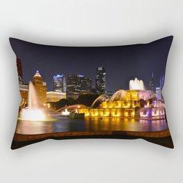 Chicago skyline and Buckingham Fountain at night. Rectangular Pillow