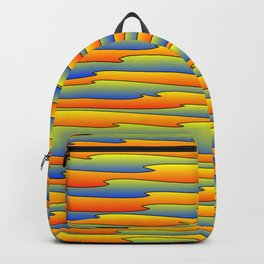 Flowing bright yellow scribbles of art waves and light blue lines. Backpack