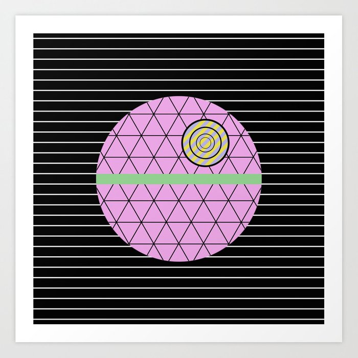 Death Star (Abstract, pastel, geometric artwork) Art Print