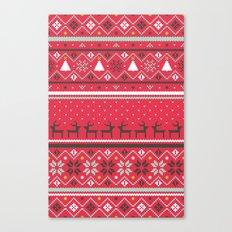 Festive FairIsle - Red Canvas Print