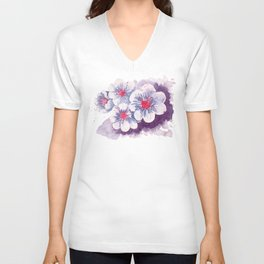Watercolor cherry blossoms Unisex V-Neck
