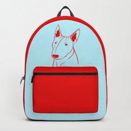 Bull Terrier (Light Blue and Red) Backpack