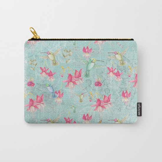 Vintage Watercolor hummingbird and Fuchsia Flowers on mint Background Carry-All Pouch