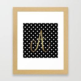 "Retro Black and White Polka Dot with ""A"" Monogram Framed Art Print"