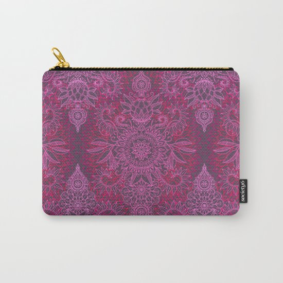 Magenta, Pink & Coral Protea Doodle Pattern Carry-All Pouch