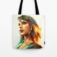 dude Tote Bags featuring When the Sun Came Up by Alice X. Zhang