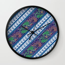Indonesian combination batik with dominant blue color Wall Clock