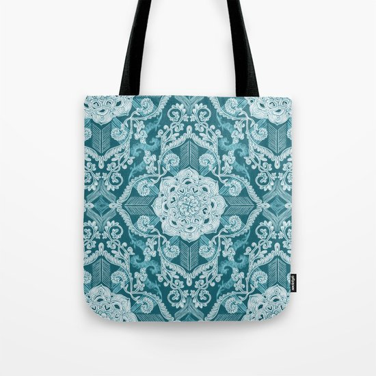 Centered Lace - Teal  Tote Bag