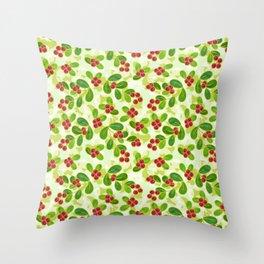 Cranberry Fruit Pattern on Green Throw Pillow