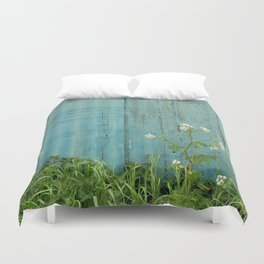 natural wild flowers floral outdoors blue metal fence texture Duvet Cover