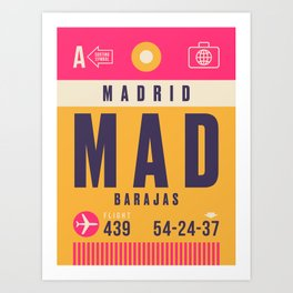 Retro Airline Luggage Tag - MAD Madrid Barajas Art Print