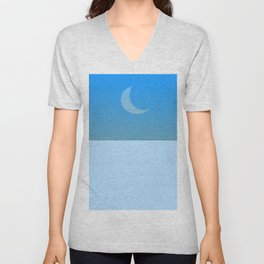 Waning moon by day Unisex V-Neck
