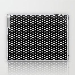 White Hearts on Black Laptop & iPad Skin