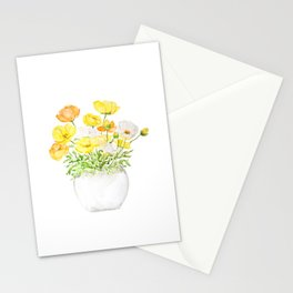 yellow orange and white poppy Stationery Cards