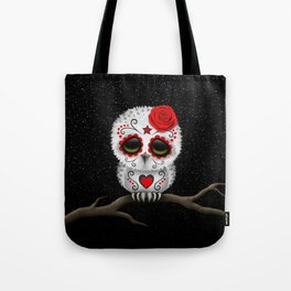 Adorable Red Day of the Dead Sugar Skull Owl Tote Bag