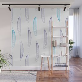 Large Geometric Feather Pattern - Purple & Blue #343 Wall Mural