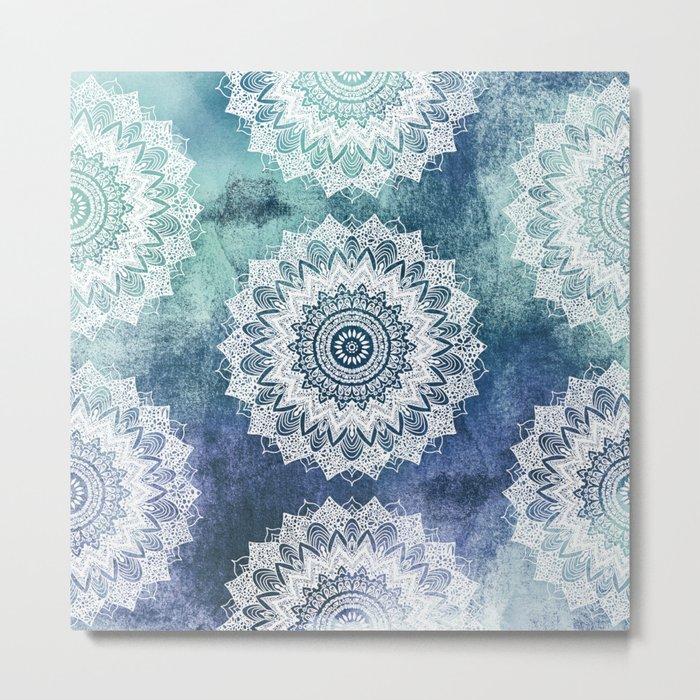 BOHOCHIC MANDALAS IN BLUE Metal Print