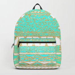 Modern gold turquoise teal ombre aztec pattern Backpack