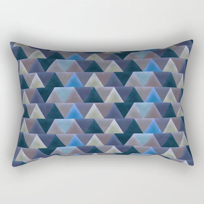 Blue Velvet Triangles Rectangular Pillow