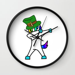 Dabbing St Patrick_s Day Unicorn Leprechaun Wall Clock