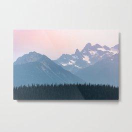 Pink Cascades - Mountain Nature Landscape Photography Metal Print