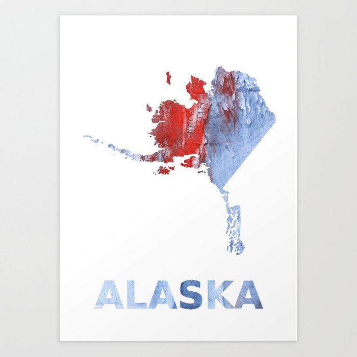 Alaska Map Outline Red Blue Steel Colorful Wash Drawing Design Art
