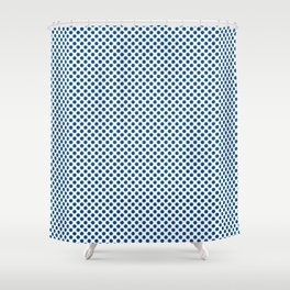Lapis Blue Polka Dots Shower Curtain