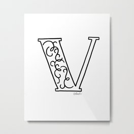 V- Letter Collection White Metal Print