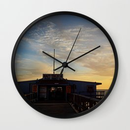 Sunset beyond the Tackle Shack Wall Clock