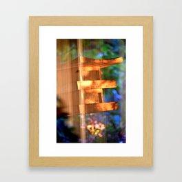 BIRD FEEDER AT SUNSET SHOT THRU GLASS Framed Art Print