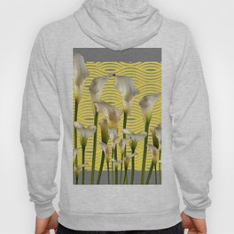 Grey & Yellow Pattern Calla Lilies Art Hoody