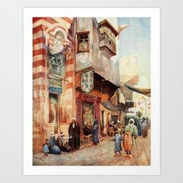 Tyrwhitt, Walter (1859-1932) - Cairo, Jerusalem, and Damascus 1912, A street scene in Cairo Art Print