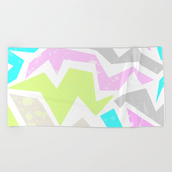 Abstract painting in pastel shades . Beach Towel